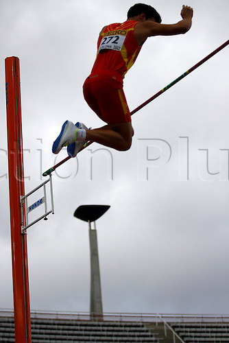 12.07.2012 Barcelona, Spain. Pole Vault Men Didac Salas ESP in action during day three of the IAAF World Junior Championships from the Montjuic Olympic Stadium in Barcelona.