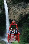 Amérique du Sud. Equateur. Trekking sur les volcans d'Equateur. traversée du rio Pastaza qui se jette dans l'Amazone dans des tarrabitas (petites nacelles) au dessus de la chute Manto de la novia (cascade voile de la mariée). Au sud de Banos.South America. Ecuador. Trekking on the volcanoes