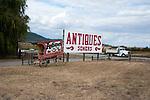 Rural anique shop sign near Kalispell, Montana