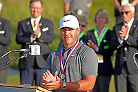 Brooks Koepka (USA) makes a speech after accepting the trophy after winning the 118th U.S. Open Championship at Shinnecock Hills Golf Club in Southampton, NY, USA. 17th June 2018.<br /> Picture: Golffile | Brian Spurlock<br /> <br /> <br /> All photo usage must carry mandatory copyright credit (&copy; Golffile | Brian Spurlock)