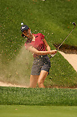 August 22, 2004; Dublin, OH, USA;  14 year old amateur Michelle Wie hits out of a bunker during the final round of the Wendy's Championship for Children golf tournament held at Tartan Fields Golf Club.  <br />Mandatory Credit: Photo by Darrell Miho <br />&copy; Copyright Darrell Miho