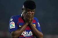 29th October 2019; Camp Nou, Barcelona, Catalonia, Spain; La Liga Football, Barcelona versus Real Valladolid; Ansu Fati of Barca dejected at his missed chance to score