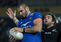 France's Yoann Maestri takes lineout ball under pressure from NZ's Sam Whitelock during the Steinlager Series international rugby match between the New Zealand All Blacks and France at Eden Park in Auckland, New Zealand on Saturday, 9 June 2018. Photo: Dave Lintott / lintottphoto.co.nz