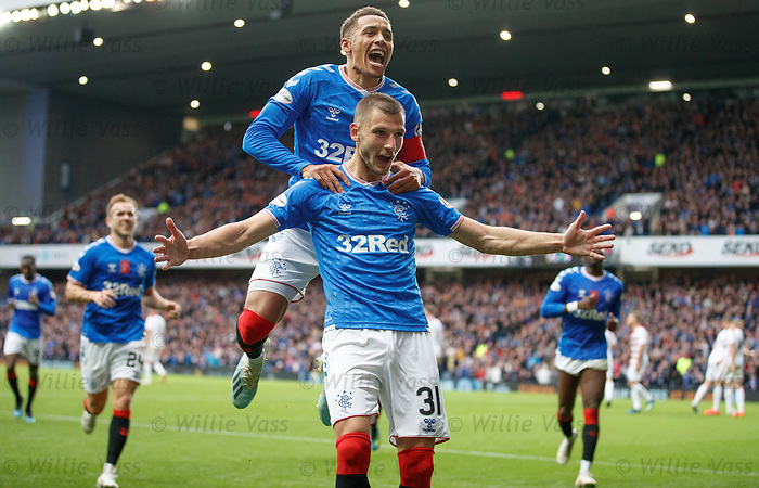 06.10.2019 Rangers v Hamilton: Borna Barisic celebrates his goal for Rangers with James Tavernier