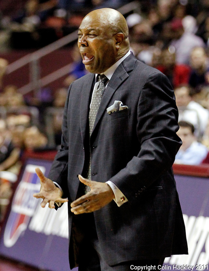 TALLAHASSEE, FL 10-FSU-VA MBB11 CH-Florida State Head Coach Leonard Hamilton reacts to an officials call against his team the during second half of the Virginia game Saturday at the Donald L. Tucker Center in Tallahassee. The Seminoles beat the Cavaliers 63-56...COLIN HACKLEY PHOTO