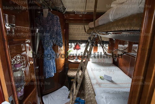 Car interior of the Venice Simplon Orient Express open for the audience at the Hungarian Railway Museum in Budapest, Hungary on Aug. 26, 2018. ATTILA VOLGYI