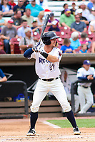 Wisconsin Timber Rattlers outfielder Tristen Lutz (21) at bat during a Midwest League game against the Bowling Green Hot Rods on July 22, 2018 at Fox Cities Stadium in Appleton, Wisconsin. Bowling Green defeated Wisconsin 10-5. (Brad Krause/Four Seam Images)