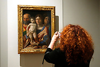 Painting by Andrea Mantegna, Sacred Family with a Saint, 1490, stolen in 1987 in Verona, Italy in 2015 and found in Ukraine in 2016<br /> Rome May 3rd 2019. Quirinale Palace. Preview of the exhibition 'The art of rescuing art' , a collection of antique artworks, paintings, statues, jewelry and terracotta artefacts rescued from the command of Carabinieri for the protection of the cultural heritage in 50 years.  Many of these artworks were stolen on commission for private collections.<br /> Photo di Samantha Zucchi/Insidefoto