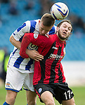 Kilmarnock v St Johnstone...05.04.14    SPFL<br /> Stevie May and Lee Ashcroft<br /> Picture by Graeme Hart.<br /> Copyright Perthshire Picture Agency<br /> Tel: 01738 623350  Mobile: 07990 594431