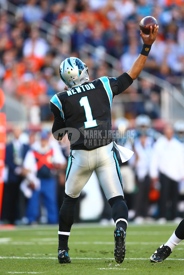 Feb 7, 2016; Santa Clara, CA, USA; Carolina Panthers quarterback Cam Newton (1) against the Denver Broncos during Super Bowl 50 at Levi's Stadium. Mandatory Credit: Mark J. Rebilas-USA TODAY Sports