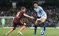 Manchester City's Leroy Sane under pressure from 1899 Hoffenheim's Dennis Geiger<br /> <br /> Photographer Rich Linley/CameraSport<br /> <br /> UEFA Champions League Group F - Manchester City v TSG 1899 Hoffenheim - Wednesday 12th December 2018 - The Etihad - Manchester<br />  <br /> World Copyright © 2018 CameraSport. All rights reserved. 43 Linden Ave. Countesthorpe. Leicester. England. LE8 5PG - Tel: +44 (0) 116 277 4147 - admin@camerasport.com - www.camerasport.com