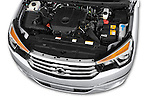 Car Stock 2014 Ssangyong Rodius Sapphire 5 Door Minivan Engine high angle detail view