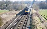 First Great Western train main west coast rail line at Woodborough, Wiltshire, England, UK