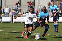 Darren McQueen of Dartford in possession as Woking's Ian Gayle looks on during Dartford vs Woking, Vanarama National League South Football at Princes Park on 23rd February 2019