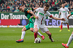 10.02.2019, Weser Stadion, Bremen, GER, 1.FBL, Werder Bremen vs FC Augsburg, <br /> <br /> DFL REGULATIONS PROHIBIT ANY USE OF PHOTOGRAPHS AS IMAGE SEQUENCES AND/OR QUASI-VIDEO.<br /> <br />  im Bild<br /> <br /> Daniel Baier (FC Augsburg #10)<br /> #Max Kruse (Werder Bremen #10)<br /> <br /> Foto © nordphoto / Kokenge