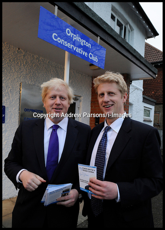 London Mayor Boris Johnson with his Brother Joe and Sister Rachel at the Conservative Club in Orpington after his rallly with the PM during his Mayoral Campaign, April 17, 2012. Photo By Andrew Parsons/i-Images