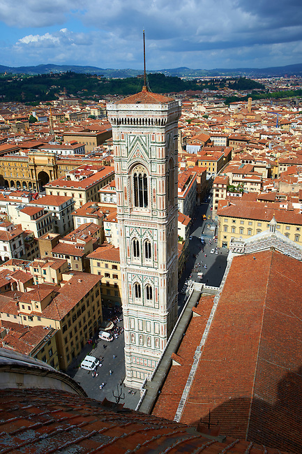 Campinale  of the the Gothic-Renaissance Duomo of Florence,  Basilica of Saint Mary of the Flower; Firenza ( Basilica di Santa Maria del Fiore ) from the top of the Dome.  Built between 1293 & 1436. Italy