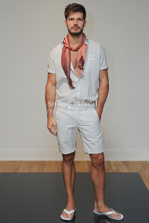Model poses in an outfit from the Zachary Prell Spring Summer 2016 collection, during Fashion Week New York Men's Spring Summer 2016.
