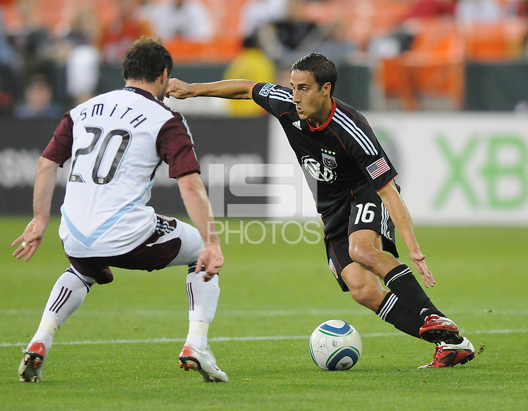 DC United forward Josh Wolff (16) goes against Colorado Rapids midfielder Jamie Smith (20) DC United tied The Colorado Rapids 1-1, at RFK Stadium, Saturday  May 14, 2011.