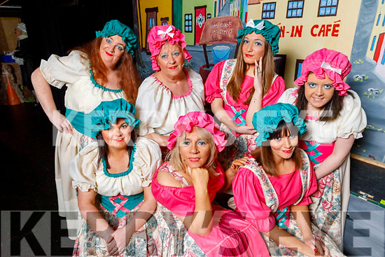 Members of the Ladies Chorus, getting ready back stage at the Cinderella Panto in the KDYS Killorglin on Sunday.<br /> Front: Selina O'Grady, Ger O'Sullivan (PRO) and Louise Clifffird Foley.<br /> Back l to r:  Jacque O'Connor, Claire Hoare, Magdalena Choroszewska and Danielle O'Connor.