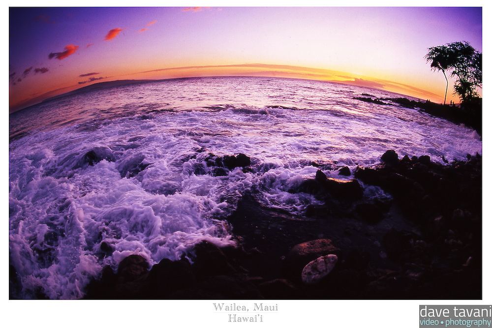 20x30 or 24x36 inch poster of the waves crashing on the shore of Wailea, Maui as the sun sets.