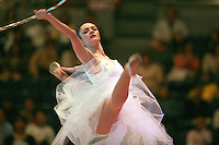 Anna Bessonova of Ukraine split leaps with hoop during gala exhibition at 2006 Aeon Cup Worldwide Clubs Championships in rhythmic gymnastics on November19, 2006.<br />