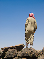Bedouin Arab in Jordan wearing the traditional keffiyeh and jellabiya