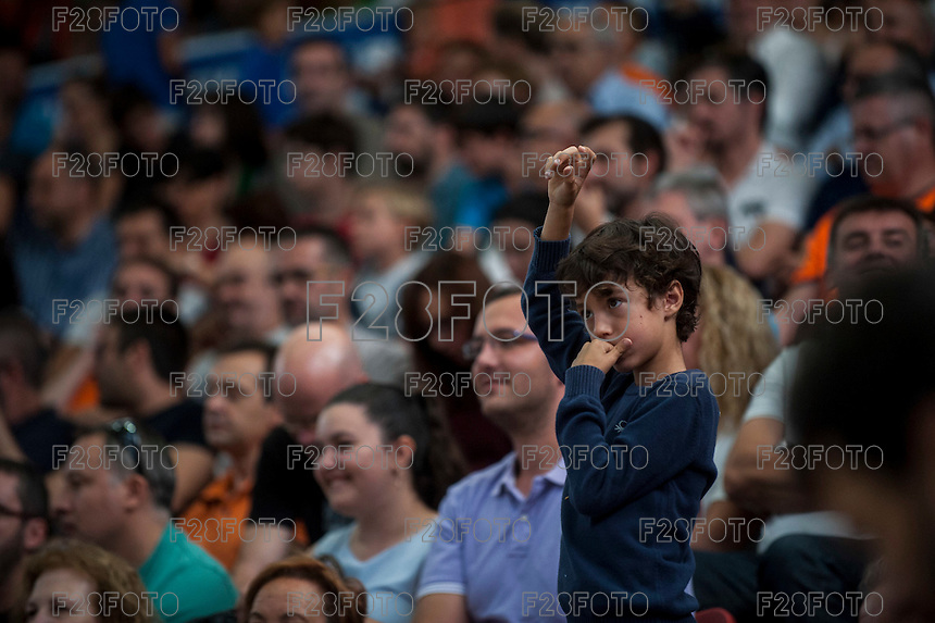 VALENCIA, SPAIN - OCTOBER 18: Child during ENDESA LEAGUE match between Valencia Basket Club and FIATC Joventut at Fonteta Stadium on October 18, 2015 in Valencia, Spain