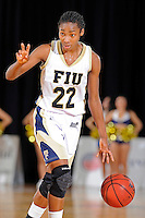 12 January 2012:  FIU guard Jerica Coley (22) signals to teammates in the second half as the Middle Tennessee State University Blue Raiders defeated the FIU Golden Panthers, 74-60, at the U.S. Century Bank Arena in Miami, Florida.