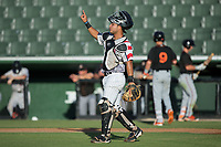 Kannapolis Intimidators catcher Daniel Gonzalez (30) lets his defense know there are two outs during the game against the Delmarva Shorebirds at Kannapolis Intimidators Stadium on June 30, 2017 in Kannapolis, North Carolina.  The Shorebirds defeated the Intimidators 6-4.  (Brian Westerholt/Four Seam Images)