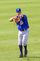 Biloxi Shuckers pitcher Danny Reynolds (25) poses for the camera in the outfield prior to a Southern League game against the Jackson Generals on July 26, 2018 at The Ballpark at Jackson in Jackson, Tennessee. Jackson defeated Biloxi 9-5. (Brad Krause/Four Seam Images)