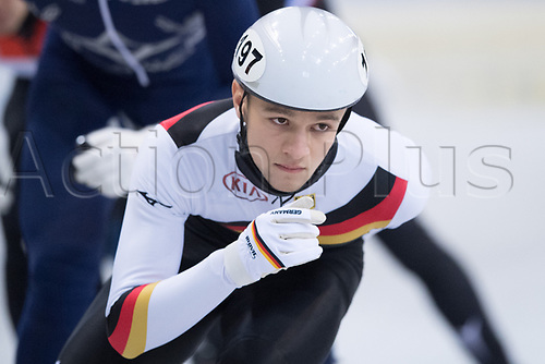 01 February 2019, Saxony, Dresden: Shorttrack: World Cup, quarter finals, 1500 meter men in the EnergieVerbund Arena. Ivan Radevic from Germany on the track.
