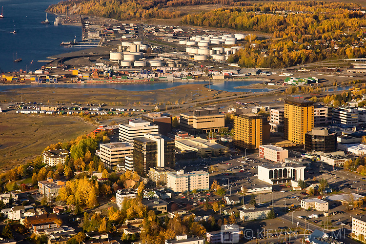 Aerial photo of downtown Anchorage, Fall, Anchorage, Southcentral Alaska, USA.