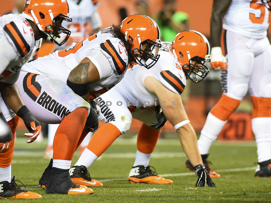 CLEVELAND, OH - AUGUST 18, 2016: Defensive tackle Danny Shelton #55 of the Cleveland Browns awaits the snap from his position in the second quarter of a preseason game on August 18, 2016 against the Atlanta Falcons at FirstEnergy Stadium in Cleveland, Ohio. Atlanta won 24-13. (Photo by: 2016 Nick Cammett/Diamond Images) *** Local Caption *** Danny Shelton