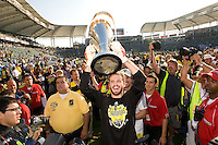 William Hesmer holds the MLS Cup trophy during MLS Cup 2008. Columbus Crew defeated the New York Red Bulls, 3-1, Sunday, November 23, 2008. Photo by John Todd/isiphotos.com