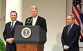 Washington, DC - December 15, 1999 -- United States President Bill Clinton welcomes Prime Minister Ehud Barak of Israel and Foreign Minister Farouk al-Sharaa of Syria to the White House for the opening session of talks between Israel and Syria that all parties hope will result in a peace treaty on 15 December, 1999..Credit: Ron Sachs / CNP