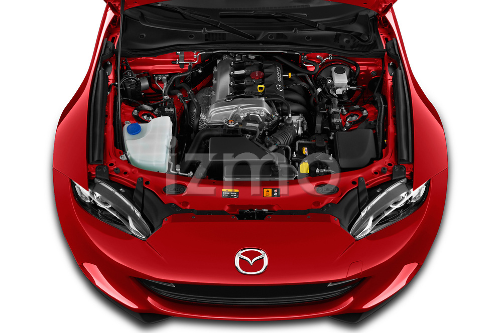 Car Stock 2019 Mazda MX-5-Miata-RF Grand-Touring 2 Door Targa Engine  high angle detail view