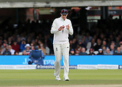 9th September 2017, Lords Cricket Ground, London, England; International test match series, third test, Day 3; England versus West Indies; England Captain Joe Root inspects the Match ball