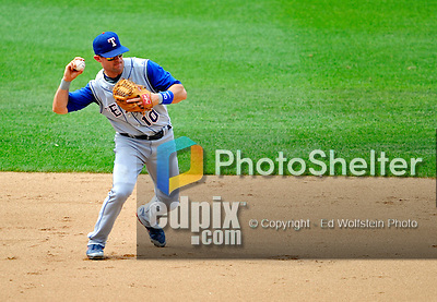 22 June 2008: Texas Rangers' shortstop Michael Young in action against the Washington Nationals at Nationals Park in Washington, DC. The Rangers defeated the Nationals 5-3 in the final game of their 3-game inter-league series...Mandatory Photo Credit: Ed Wolfstein Photo