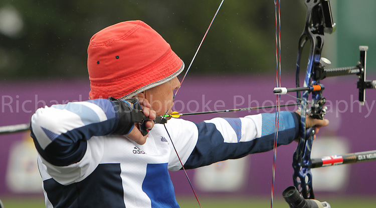 Paralympics London 2012 - ParalympicsGB - Archery Mens Individual Compound - W1  30th August 2012.  .John Cavangh, competing in the mens Archery Individual Compound W1 heats at the Paralympic Games in London. Photo: Richard Washbrooke/ParalympicsGB