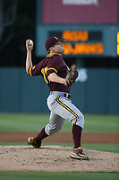 Eli Lingos (15) of the Arizona State Sun Devils pitches against the Southern California Trojans at Dedeaux Field on March 24, 2017 in Los Angeles, California. Southern California defeated Arizona State, 5-4. (Larry Goren/Four Seam Images)