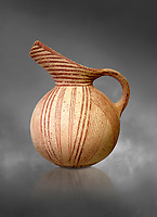Early Minoan rounded jug with typical brownish red painted converging daigonal lines,  Hagios Onouphrios 2900-1900 BC BC, Heraklion Archaeological  Museum, grey background.