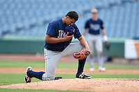 Michael Rivera (10) of International Baseball Academy and High School in Trujillo Alto, Puerto Rico playing for the Tampa Bay Rays scout team during the East Coast Pro Showcase on July 31, 2014 at NBT Bank Stadium in Syracuse, New York.  (Mike Janes/Four Seam Images)