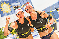 19th July 2020; Dusselldorf, Germany; Comdirect beach volleyball tour;  Joana Heidrich SUI, Anouk Verge-Depre SUI celebrate their win
