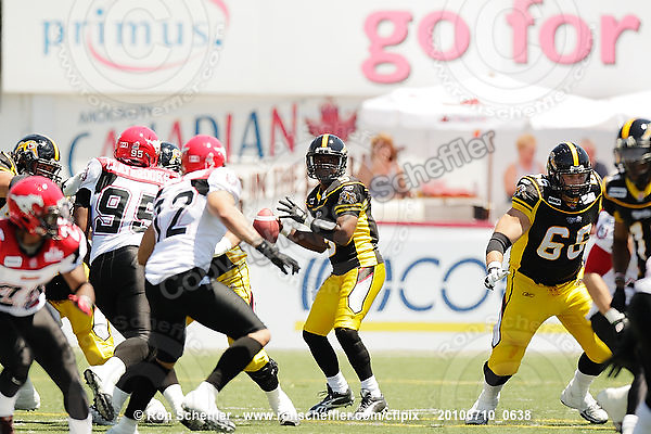 July 10, 2010; Hamilton, ON, CAN; Hamilton Tiger-Cats quarterback Kevin Glenn (5). CFL football: Calgary Stampeders vs. Hamilton Tiger-Cats at Ivor Wynne Stadium. The Tiger-Cats lost against the Stampeders 23-22. Mandatory Credit: Ron Scheffler. Copyright (c) 2010 Ron Scheffler.