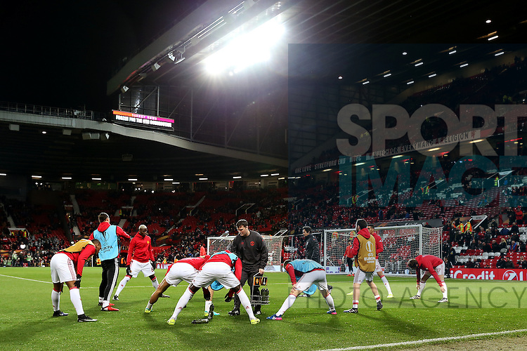 Manchester United players warm up during the UEFA Europa League Round of 32 1st leg match at Old Trafford Stadium, Manchester. Picture date: February 16th, 2017. Pic credit should read: Matt McNulty/Sportimage