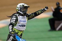 ANTONIO LINDBACK (Sweeden) celebrates winning an early heat during the 2016 Adrian Flux British FIM Speedway Grand Prix at Principality Stadium, Cardiff, Wales  on 9 July 2016. Photo by David Horn.