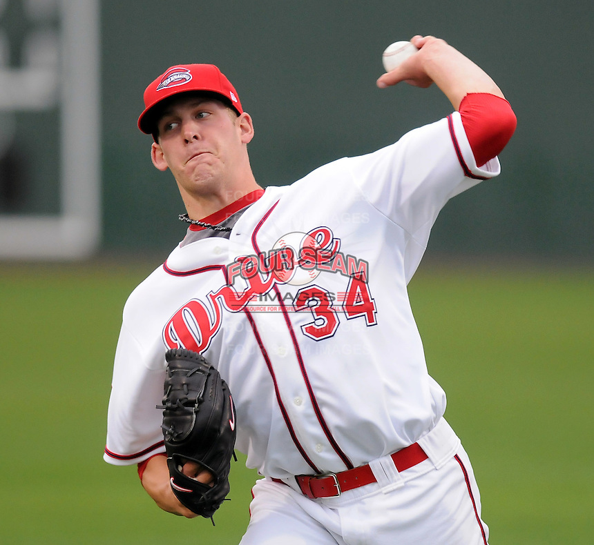 April 5, 2008: LHP Nick Hagadone of the Greenville Drive, Sally League affiliate of the Boston Red Sox, pitches in his first Class A game against the Kannapolis Intimidators at Fluor Field at the West End in Greenville, S.C. Photo by:  Tom Priddy/Four Seam Images
