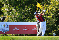 Patrick Reed (Team USA) on the 10th tee during Saturday afternoon Fourball at the Ryder Cup, Hazeltine National Golf Club, Chaska, Minnesota, USA.  01/10/2016<br /> Picture: Golffile | Fran Caffrey<br /> <br /> <br /> All photo usage must carry mandatory copyright credit (&copy; Golffile | Fran Caffrey)