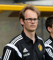 20150523 - SINT-TRUIDEN ,  BELGIUM : Belgian goalkeepercoach Sven Cnudde pictured during the friendly soccer game between the Belgian Red Flames and Norway, a preparation game for Norway for the Women's 2015 World Cup, Saturday 23 May 2015 at Staaien in Sint-Truiden , Belgium. PHOTO DAVID CATRY
